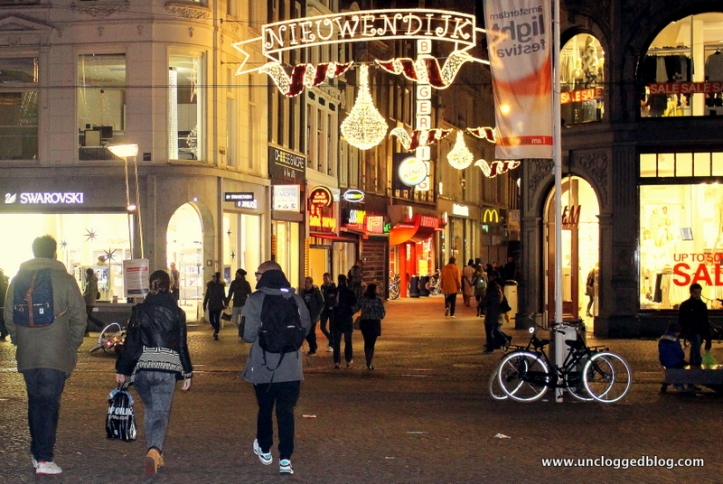 Shopping streets sparkle with holiday cheer in winter.